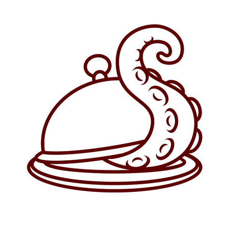 The tentacle crawls out from under the lid of a round dish for hot food Illustration