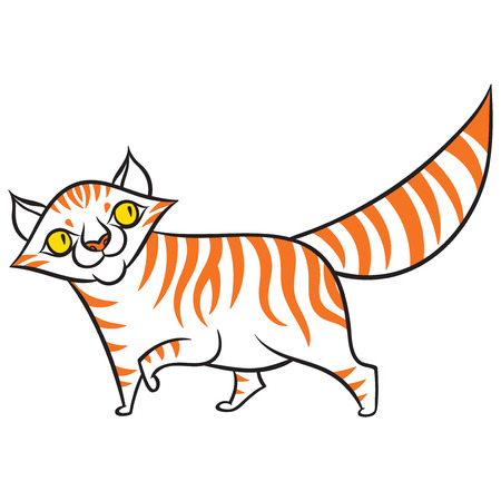 cartoon smiling tabby cat - vector graphics illustration