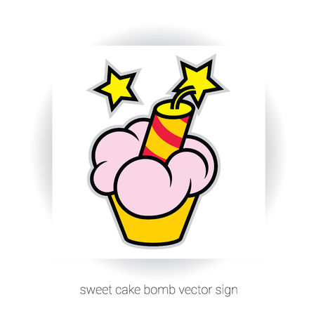 gateau: stylized template sign - cake or cupcake with cream and dynamite and stars Illustration