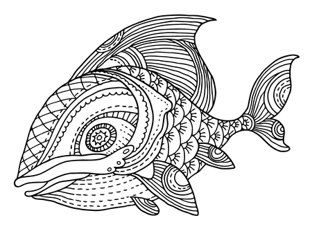 A richly decorated fish vector hand drawing illustration.