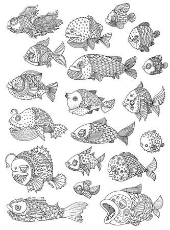 richly decorated fish vector hand drawing illustration big set Ilustração