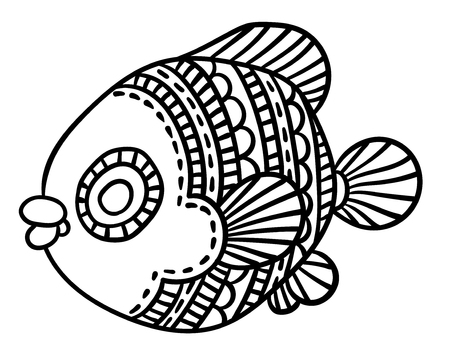 richly decorated fish vector hand drawing illustration Illustration