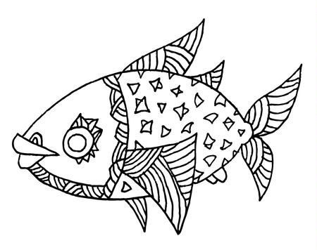 richly decorated fish vector hand drawing illustration Ilustração