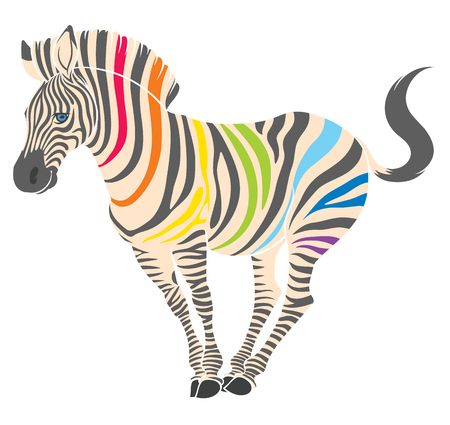 cute naturalistic zebra with rainbow stripes in funny pose  - line drawing hand-drawing sketch