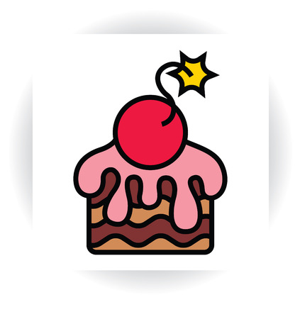 stylized template sign - piece of chocolate cake with cream or sugar glaze and cherry like bomb