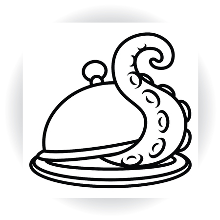 flatwares: Tentacle protrudes from serving dish with lid - cloche vector sign template