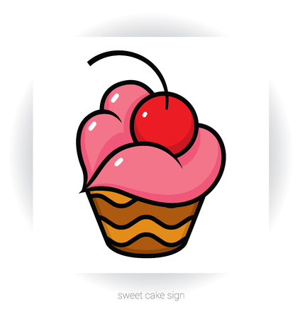 stylized template sign - chocolate cake or cupcake with cream in  shape of lips and cherry Illustration