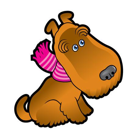 Cute cartoon terrier wearing a scarf vector draving