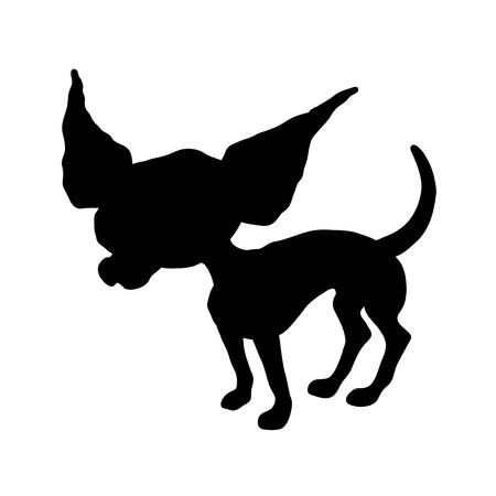 cartoon black silhouette of a Chihuahua