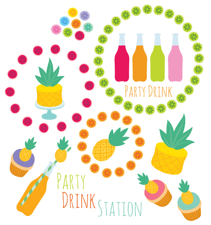 set of decorative vector design elements for party in pineapple style