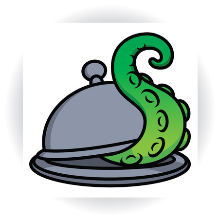 Tentacle protrudes from serving dish with lid - cloche vector sign template