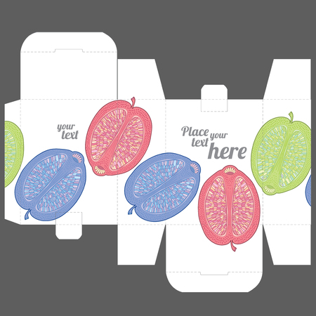 Gift wedding favor box design template with nature pattern - abstract vector nature pattern with fruits