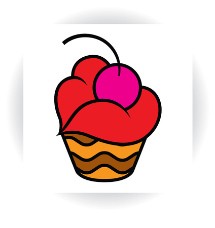 stylized template sign - chocolate cake or cupcake with cream in  shape of lips and cherry Illusztráció