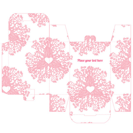 topper: Gift wedding favor box template with love pattern - abstract vector pattern delicate trees with hearts