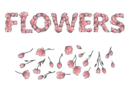 HERMOSO Signo O Inscripción Hecha Con Flores Y Hojas De Sakura ...
