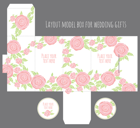 diecut: Gift wedding favor box template with nature pattern - abstract vector floral pattern flowers blossom