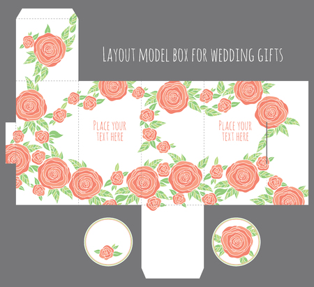 dieline: Gift wedding favor box template with nature pattern - abstract vector floral pattern flowers blossom
