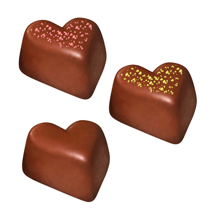 candy in form of heart - hand-drawing with a different choco-decor Stock Photo