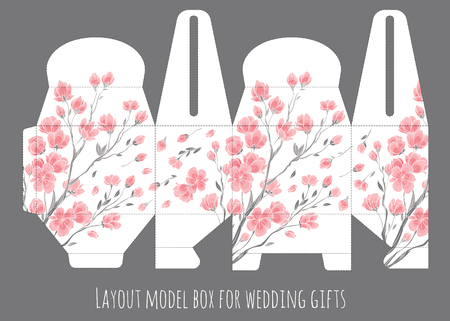 diecut: Gift wedding favor box template with nature pattern - abstract vector floral pattern sakura cherry blossom