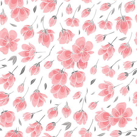 Seamless background pattern - pink Sakura blossom - Japanese flowering cherry - symbol of spring Illustration