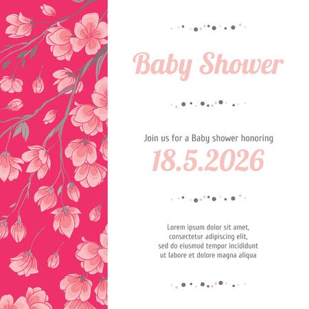 Baby shower invitation card with spring sakura flowers royalty free baby shower invitation card with spring sakura flowers stock vector 82677488 filmwisefo