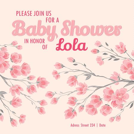 Baby shower invitation card with spring sakura flowers