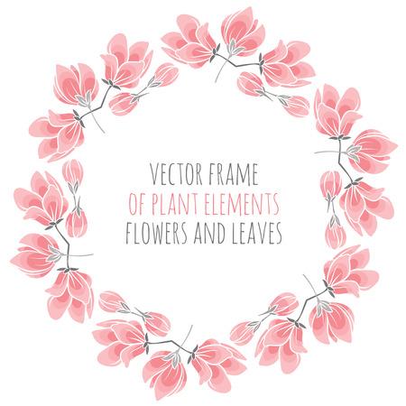 marco redondo de Sakura rosa delicado flores de cerezo - ilustración vectorial para el diseño