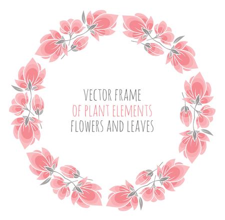 decorate notebook: round frame of delicate pink sakura cherry blossoms - vector illustration for design Illustration