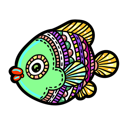 Cartoon comics sea or river fish hand drawn illustration.