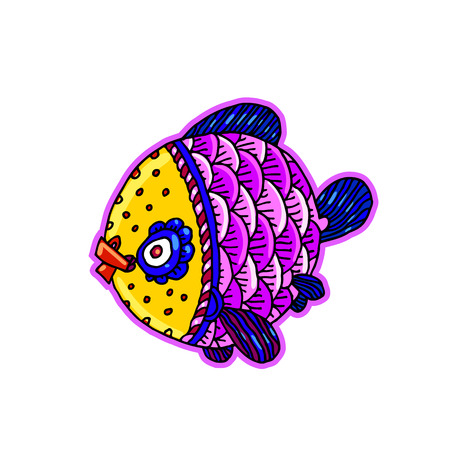 Cartoon comics sea or river fish - vector hand drawing isolated linear illustration in sketch style