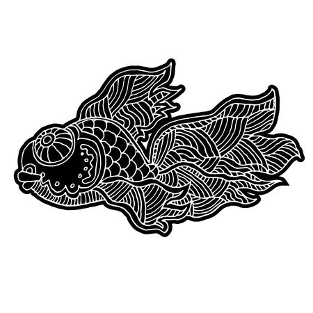 漫画コミック海や川の魚 - ベクトル手図面分離線形図スケッチ スタイルで  イラスト・ベクター素材