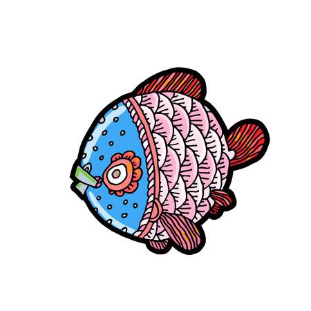 漫画の漫画の海や川の魚、手描きのスケッチ スタイルの分離線形図のベクトル