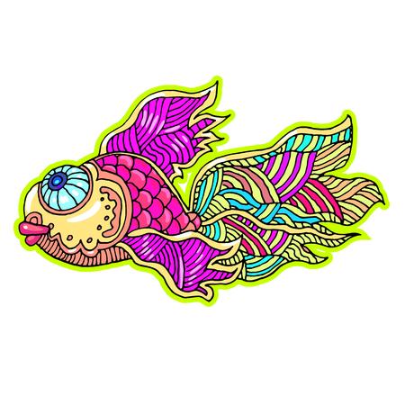 Bright sea fish hand drawn illustration.