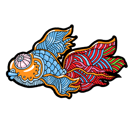 Cartoon comic sea or river fish - vector hand drawing, isolated linear illustration in sketch style