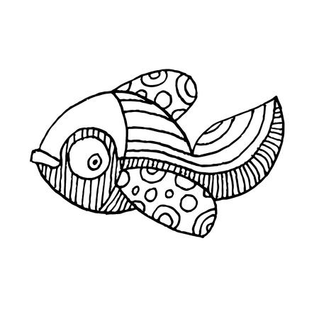 Cartoon comics zee of rivier vis - vector hand tekenen geïsoleerde lineaire illustratie in schets stijl Stock Illustratie