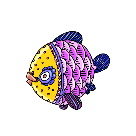Cartoon comics sea or river fish, vector hand drawing isolated linear illustration in sketch style.