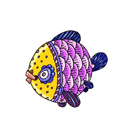 Overzeese van het beeldverhaalstrippakjes of riviervis, vectorhandtekening geïsoleerde lineaire illustratie in schetsstijl.