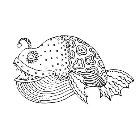 Beeldverhaal grappige overzees of riviervis - vectorhandtekening, geïsoleerde lineaire illustratie in schetsstijl
