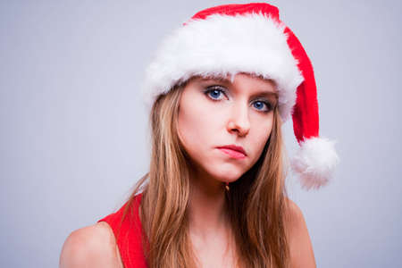 Christmas girl in the Santa Claus hat photo