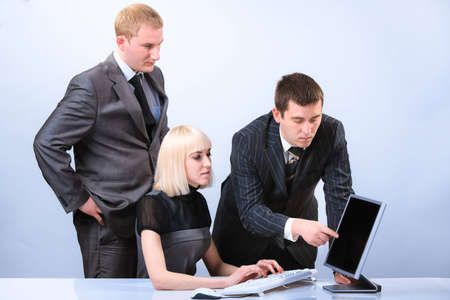 Successful group of young beautiful business people. Working in office Stock Photo - 9730719