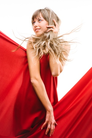 Young girl in a red cloth photo