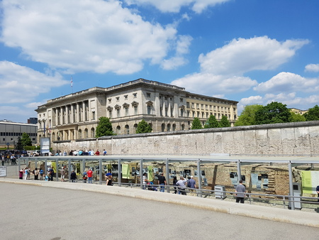 Tourists walking arround at the Topographie des Terrors in Berlin Germany