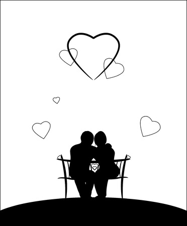 enamoured: Two silhouettes sit on a bench Illustration