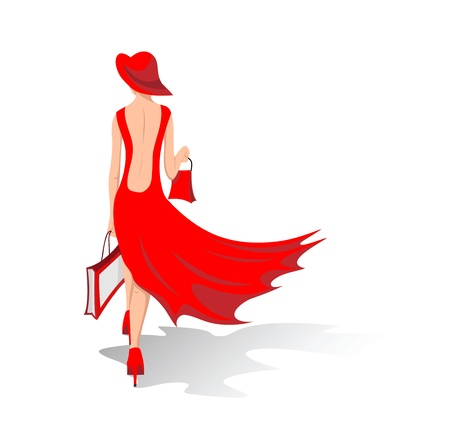 shoping bag: The woman in a red dress walks  Illustration Illustration