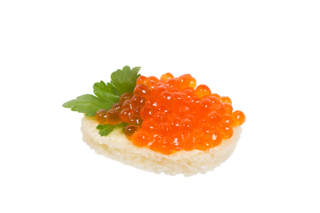 Snack with caviar. Isolated on white