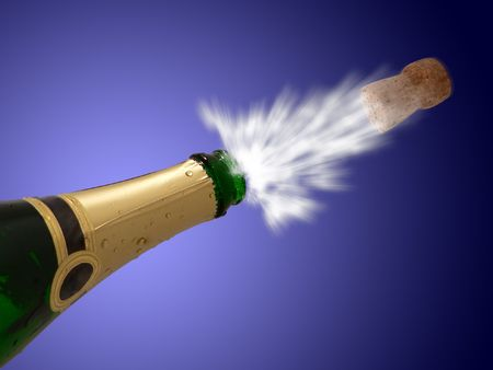 uncork: Celebration with drink champagne bubles Stock Photo