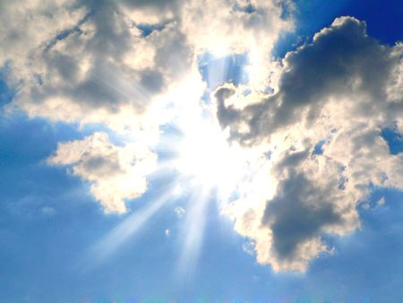 sunshine behind the clouds  Stock Photo - 3280710