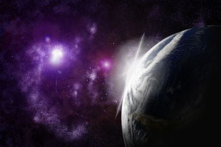 planet earth with flare in space Stock Photo - 3379649