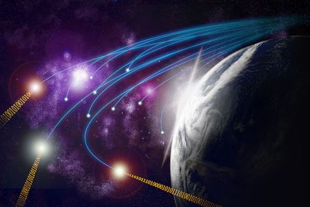 Planet earth with flare in space, optical fibres, data transmission