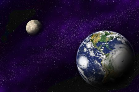cosmology: Planet Earth and Moon in the deep space Stock Photo